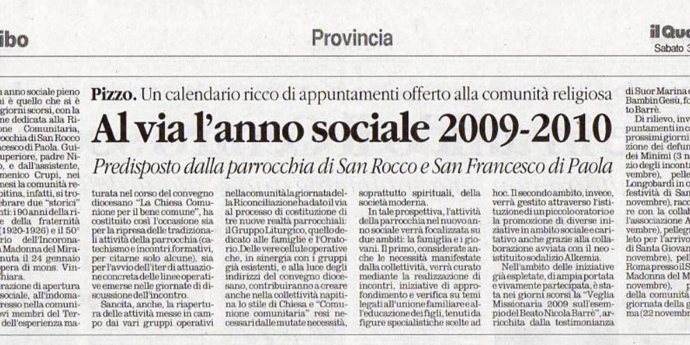 AL VIA L'ANNO SOCIALE 2009-2010 DELLA PARROCCHIA DI SAN ROCCO E SAN FRANCESCO DI PAOLA DI ANNA MARIA PAGNOTTA