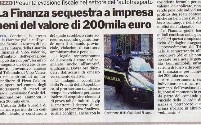 11/4/2014.Pizzo.La Finanza sequestra a impresa beni del valore di 200mila euro