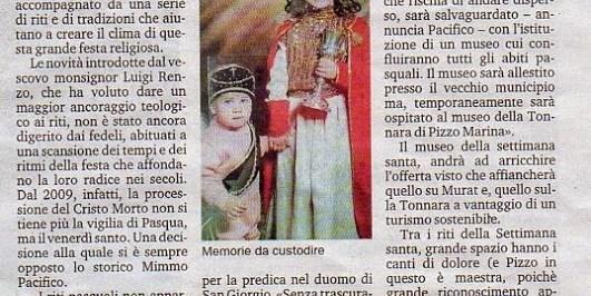 11/4/2014.Pizzo.Un museo restituirà lustro ai riti della Settimana Santa