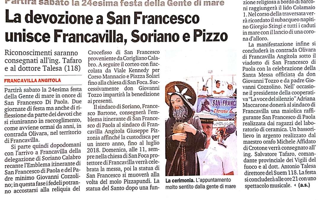 La devozione di San Francesco unisce Franca villa, Soriano e Pizzo