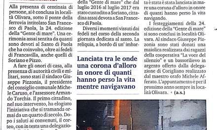 """Pizzo, Soriano e Franca villa celebrano la """"Gente di mare"""""""