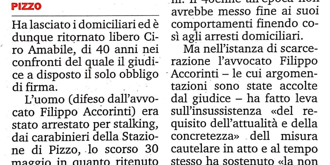 Stalking, Ciro Amabile lascia i domiciliari