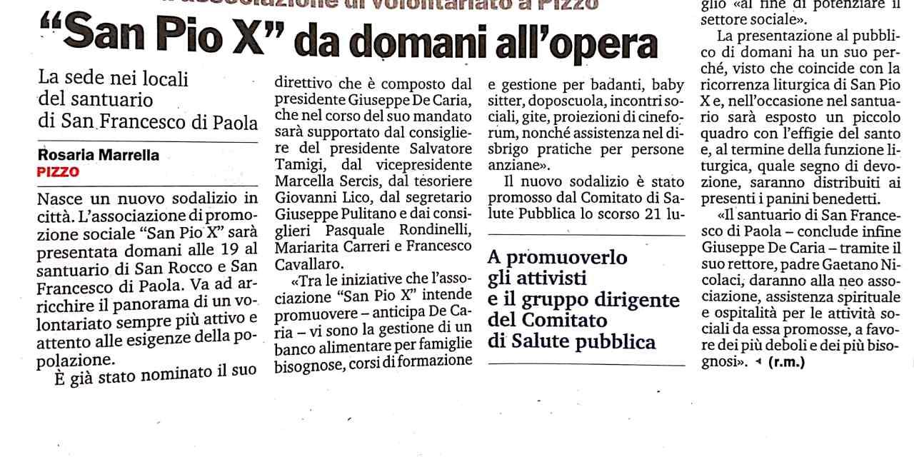 """Santuario San Francesco di Paola: Nuova associazione di volontariato """"San Pio X"""" da domani all'opera."""