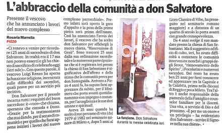 """L""""abbraccio della comunita' a don Salvatore"""