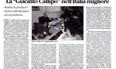 """Pizzo. L'azienda visitata da studenti nell'ambito del progetto della prestigiosa università Luiss LA """"GIACINTO CALLIPO"""" NELL'ITALIA MIGLIORE da IL QUOTIDIANO dell' 8 marzo 2012"""
