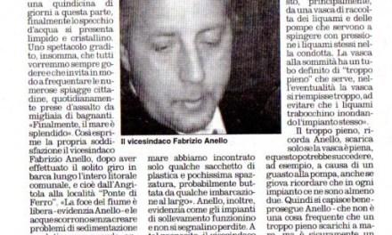 """Il Comune: Il mare è pulito Il vicesindaco Anello: """"Finalmente una buona notizia"""""""