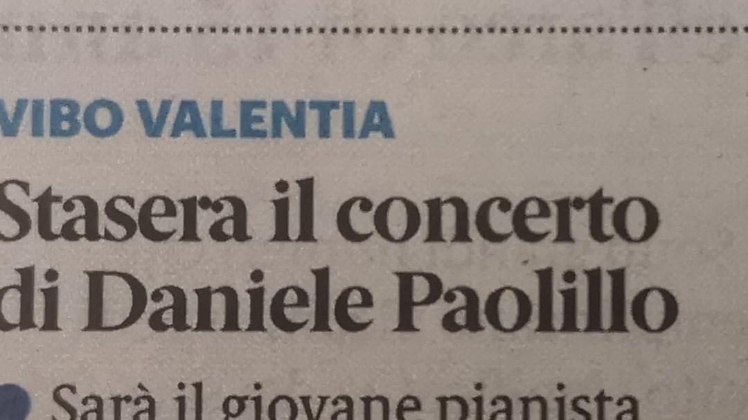 Stasera il concerto di Daniele Paolillo