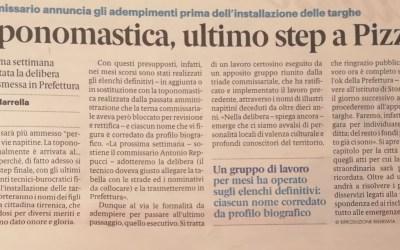 Toponomastica, ultimo step a Pizzo