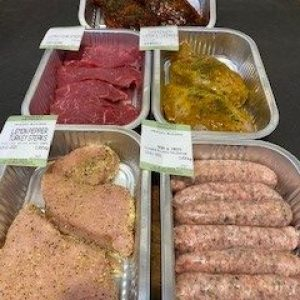 Low fat healthy meat box selection