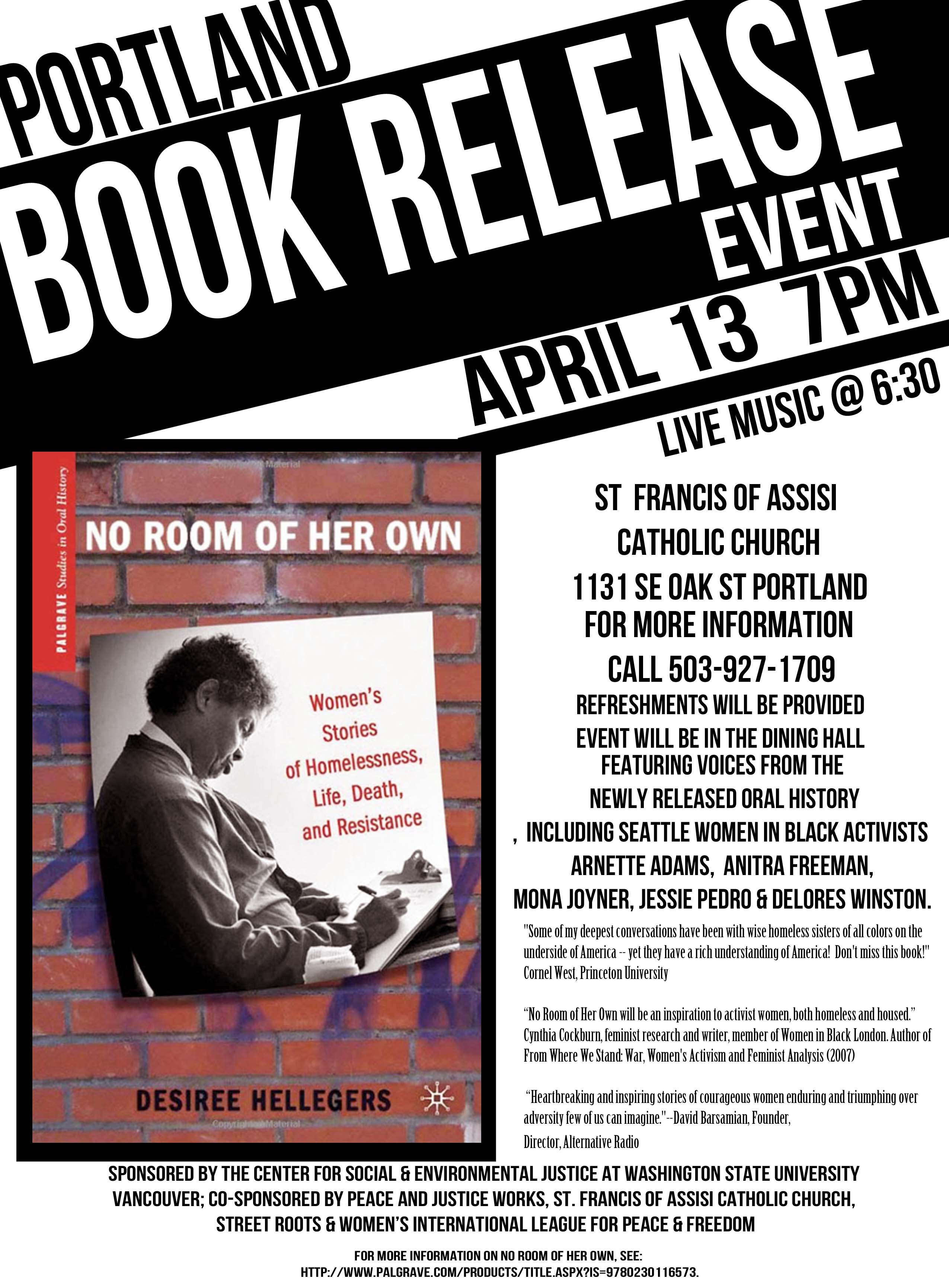 Women and Homelessness Book Release Friday April 13 2012