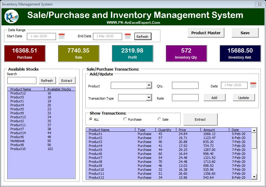 If you run a more complex business or a large ecommerce store, you might need a more comprehensive inventory management template. Inventory Management Form In Excel Pk An Excel Expert
