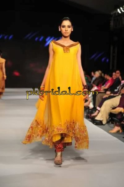 Pakistani Designer Wear Yellow Mehndi Dress