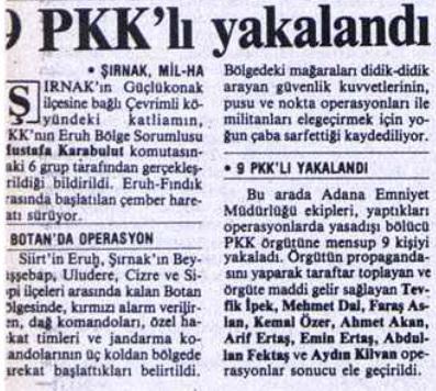 pkk vahşeti çevrimli köyü katliamı