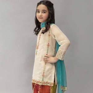 2 PCs Kids Wear Embroidered Neck & Digital Printed Linen Suit