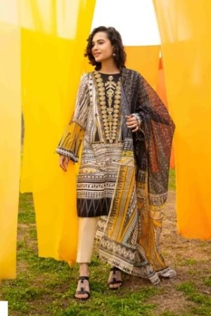 3PC Lawn Digital Printed Suit with Lawn Dubbata