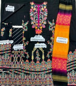 3PC Lawn Neck Embroidered Suit