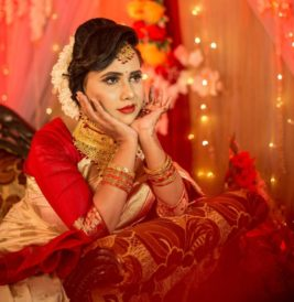 charming indian bride in festive costume
