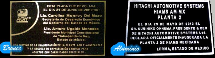 fundicion, placas de bronce y placas de aluminio