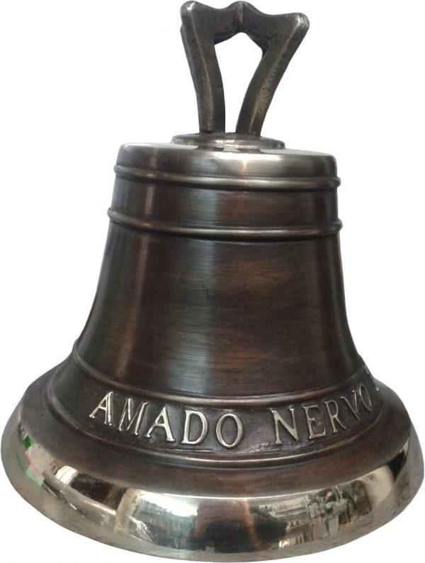 campana fundida en bronce patina cafe