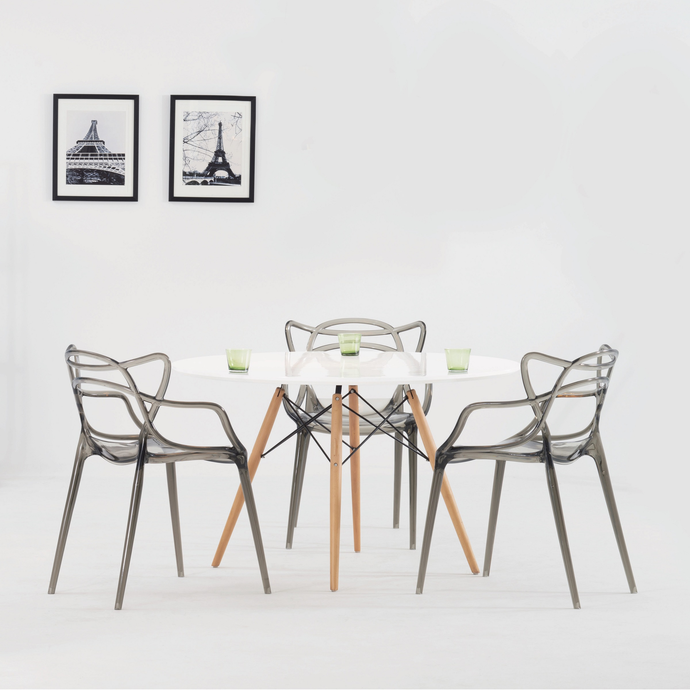 eiffel dining chair with beech legs upholstered room chairs replica eames wood leg table
