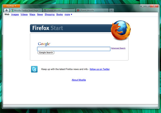 Firefox 5 page accueil