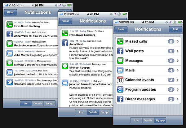 Un concept pour améliorer les notifications sur l'iPhone OS 5.