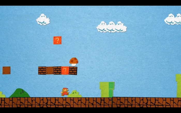 Une animation de Super Mario Bros en papier