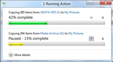 Le nouveau système de copie sous Windows 8 avec une copie en pause