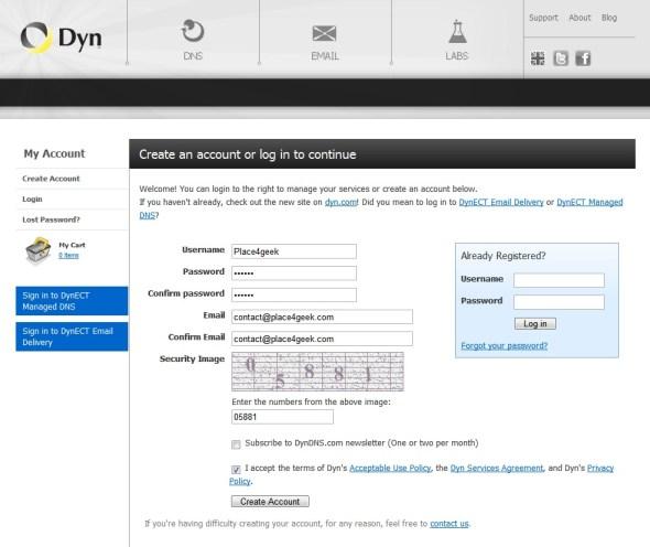 Créer un compte sur DynDNS.org
