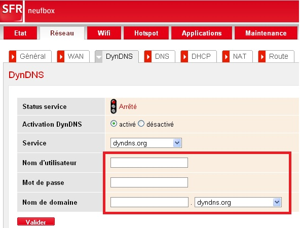 Configuration de l'accès distant (DyDNS) sur la Neufbox