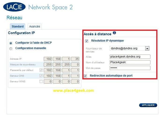 Configuration Reseau DynDNS NetworkSpace 2 LaCie