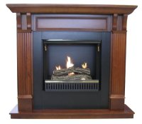 Active Flame Gel Fuel Fireplace with Cherry Mantel & Gel ...