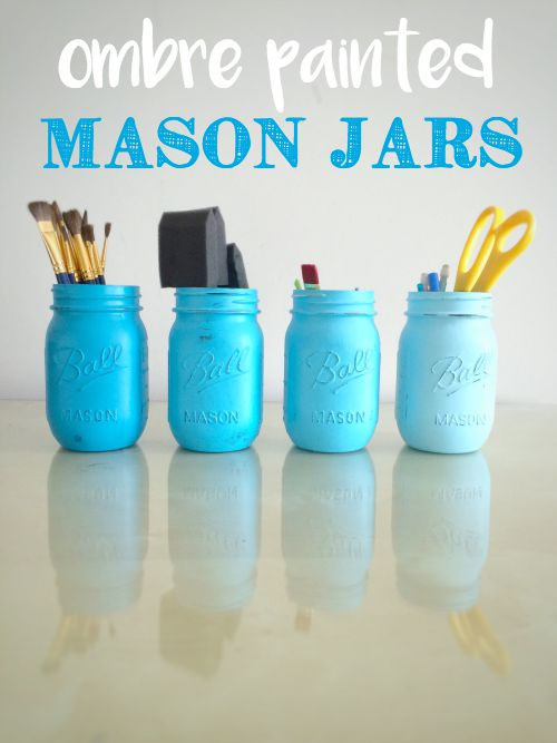 Ombre Painted Mason Jars