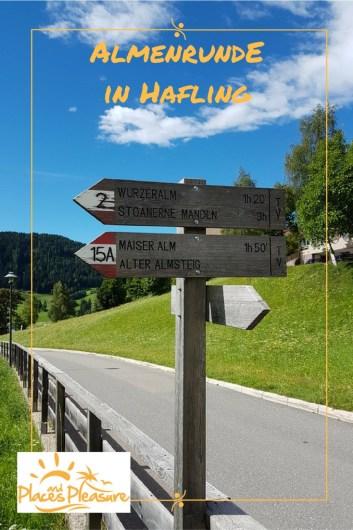 Wegweiser zur Wurzeralm als Einstieg in die Almenrunde in Hafling Dorf