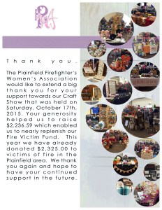 Thanks you letter from the plainfield firefighter's women's association for attending the craft fair