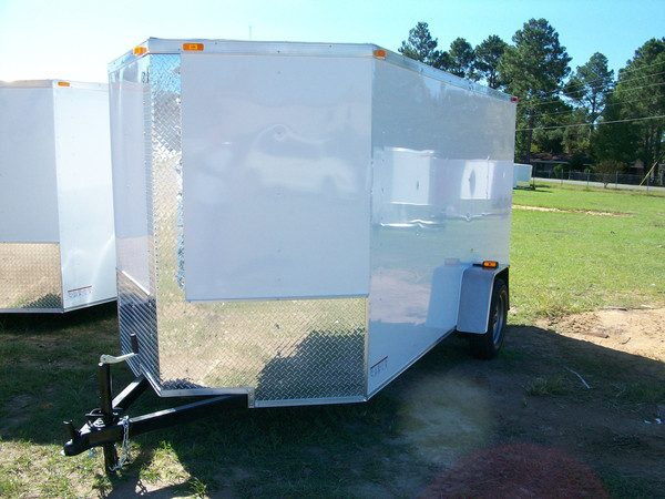 7x12 RollingVault Single Axle V Nose Trailer 1