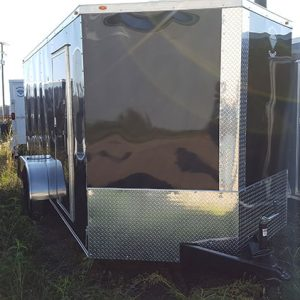 7x12 RollingVault Tandem Axle V Nose Enclosed Cargo Trailers For Sale