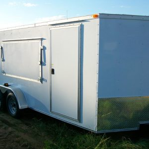 7x14 RollingVault Tandem Axle V Nose Enclosed Cargo Trailers For Sale