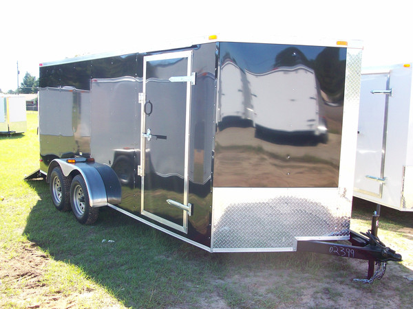 7x16 Budget Tandem Axle V Nose Enclosed Cargo Trailers For Sale