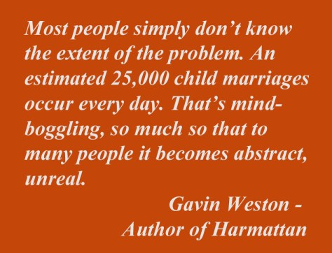 Gavin Weston quote regarding child marriage