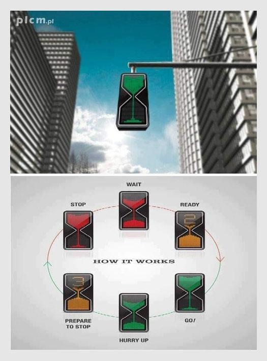 Traffic light shaped like an hour glass