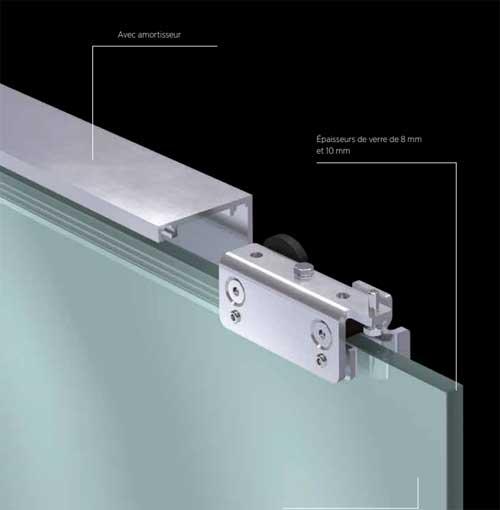 porte coulissante en applique en verre