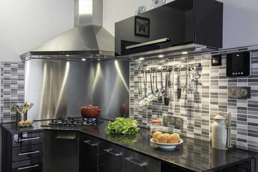 hotte de cuisine en angle
