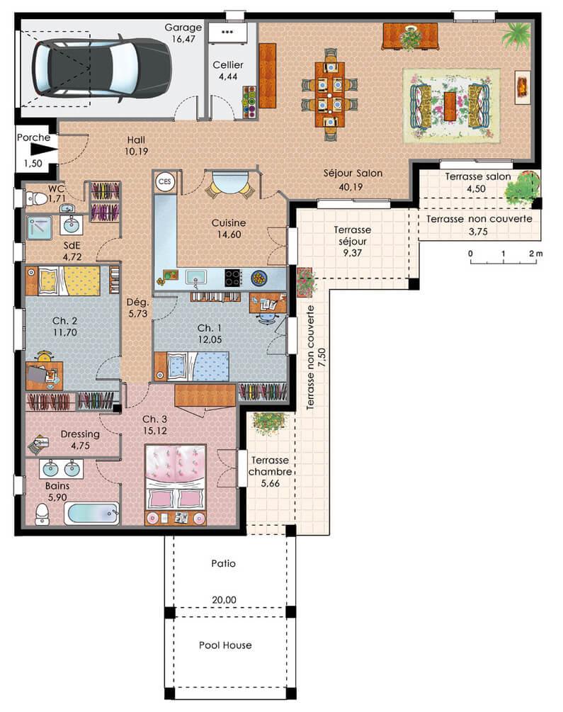exemple plan maison plain pied