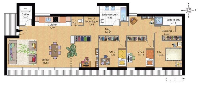 plan de maison moderne de plain pied