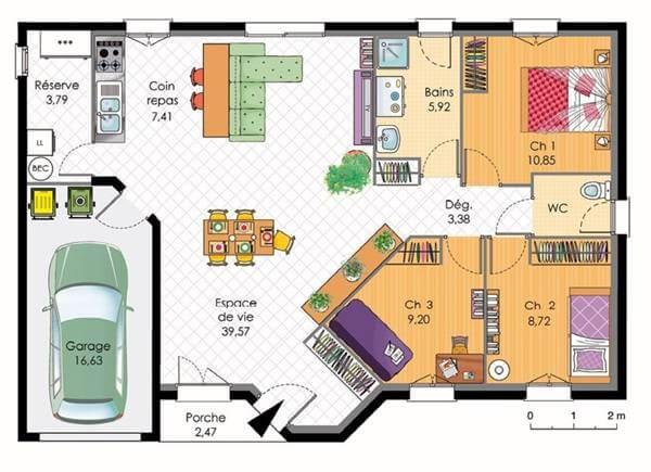 Plan De Maison Plain Pied Avec 4 Chambres Plans Maisons