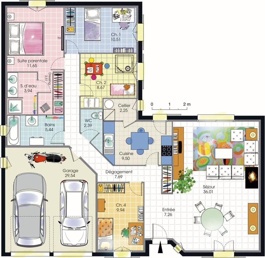 plan maison 4 chambres plain pied
