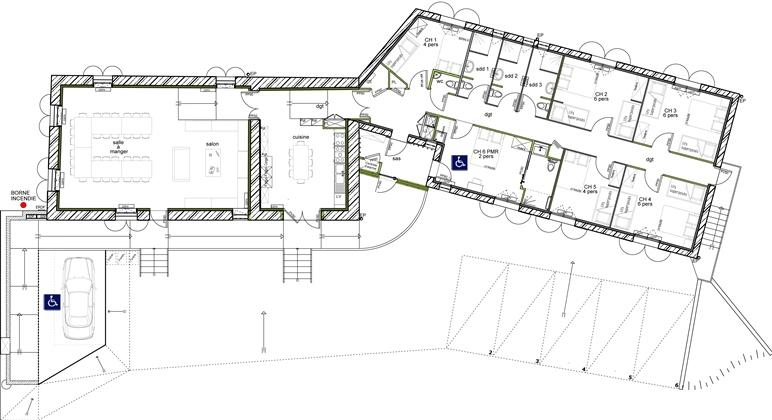 Plan maison mitoyenne plain pied trendy crer les plans - Plan de maison mitoyenne ...