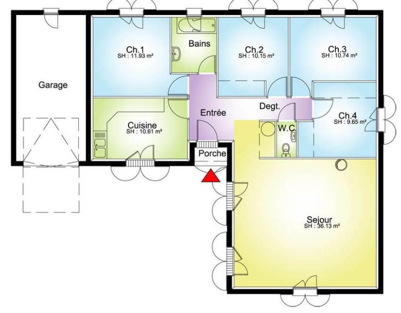 plan maison plain pied 4 chambres