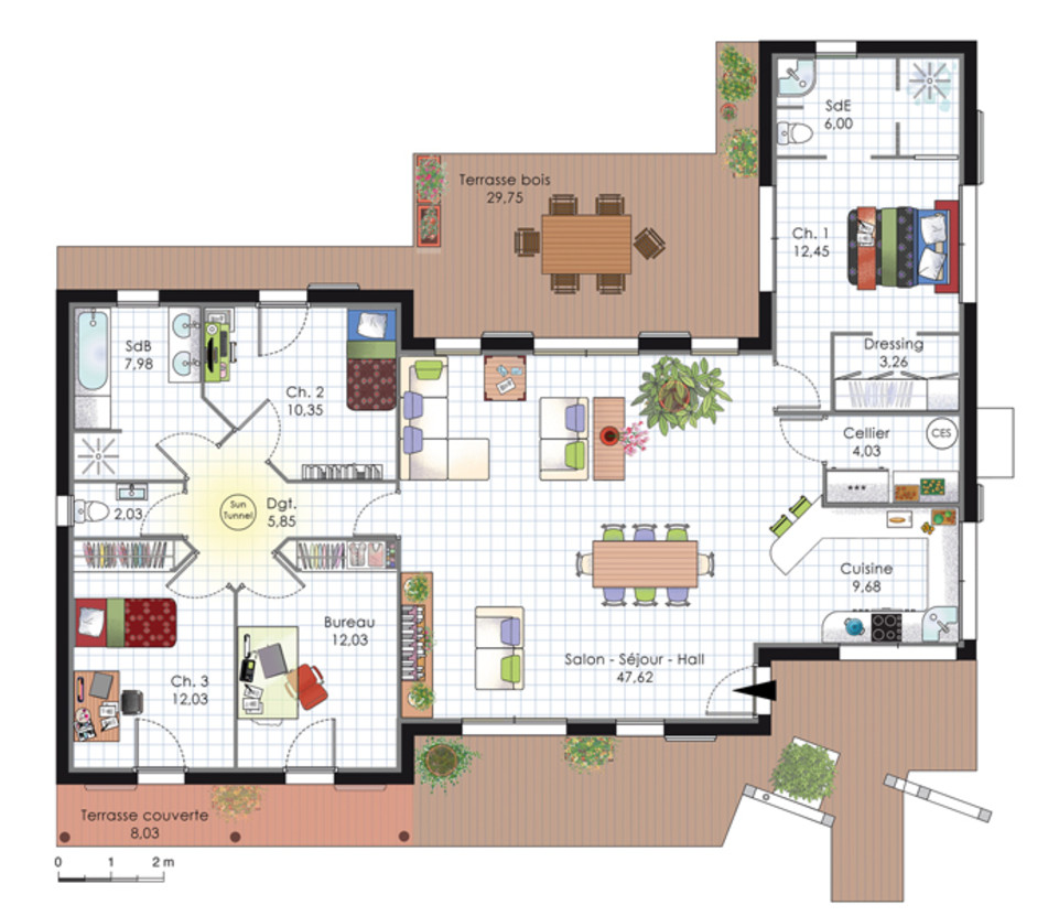 Plan de maison d'architecte